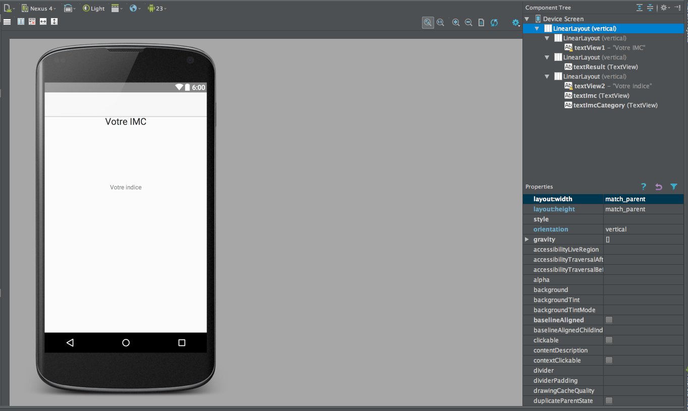 Android Studio result activity