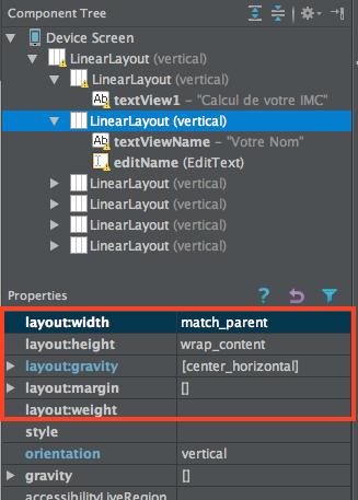 Android Studio component attributes