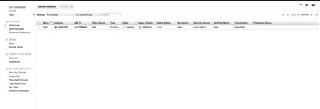 Liste des instances AWS