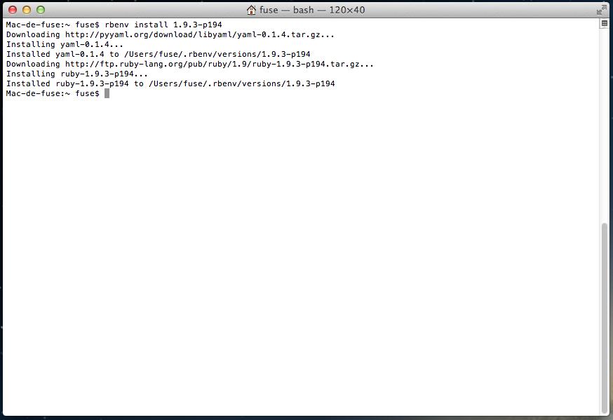 rbenv version 1.9.3-p0 'n'est pas installé