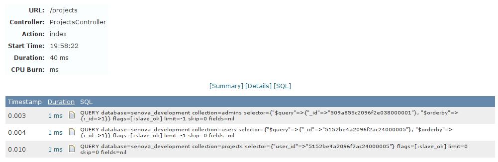 SQL d'une requête - New Relic dev mode