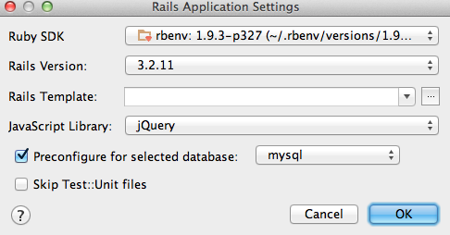 Nouveau projet Rails avec RubyMine