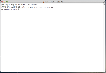 Version de base de ruby sous Mac Os X